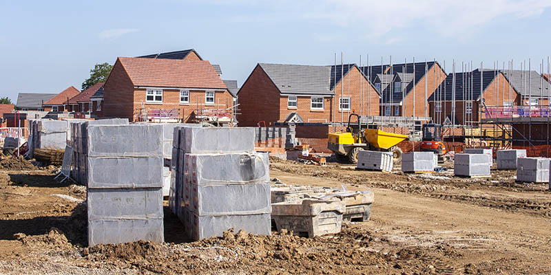 New build houses building construction site, Cheshire, England,